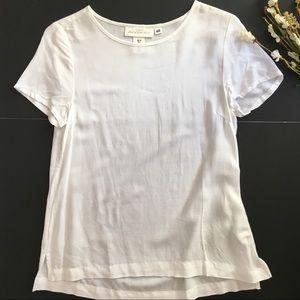 H&M   White Lightweight Sheer Short Sleeve Top
